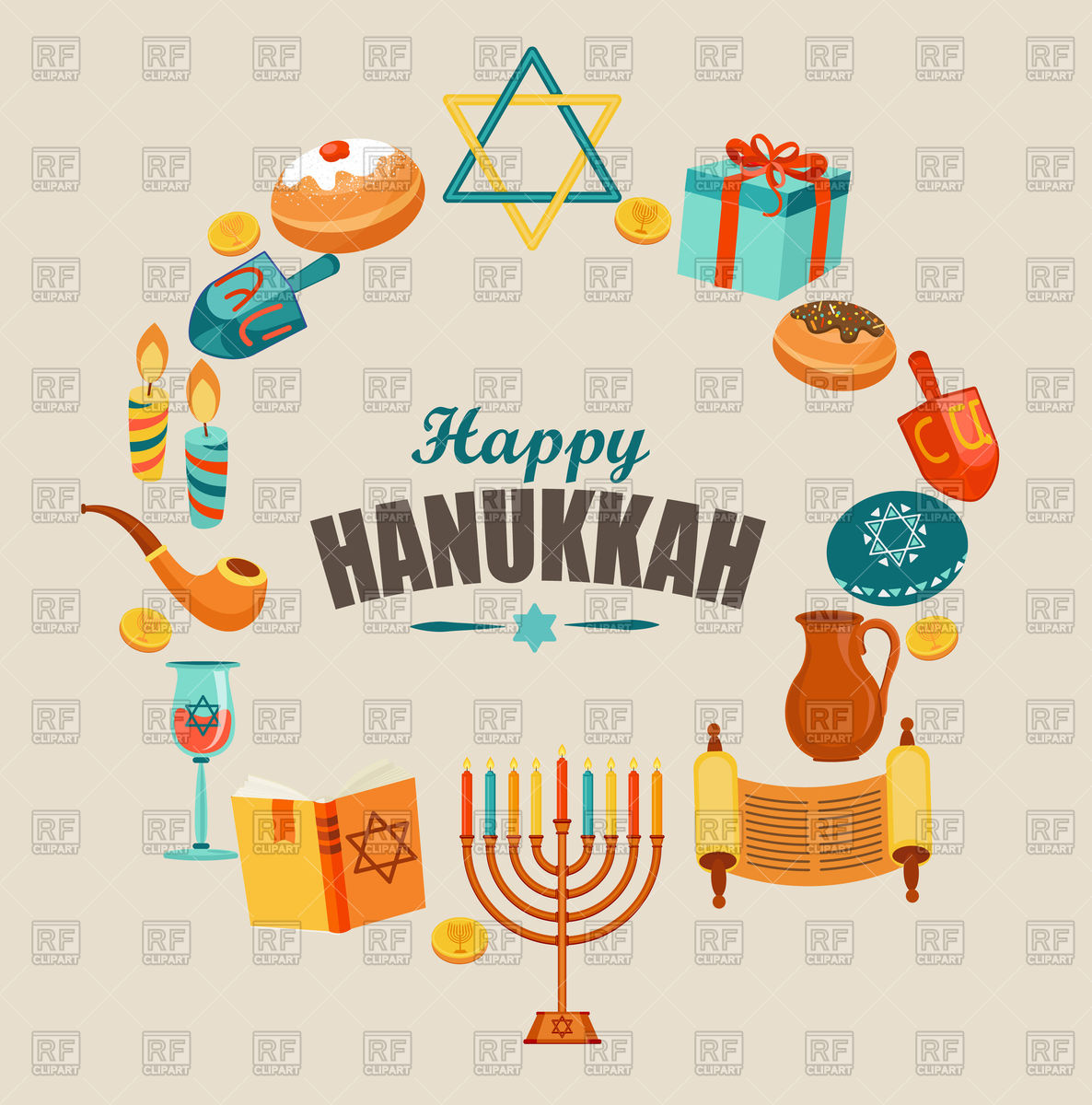 Happy Hanukkah card template or banner.