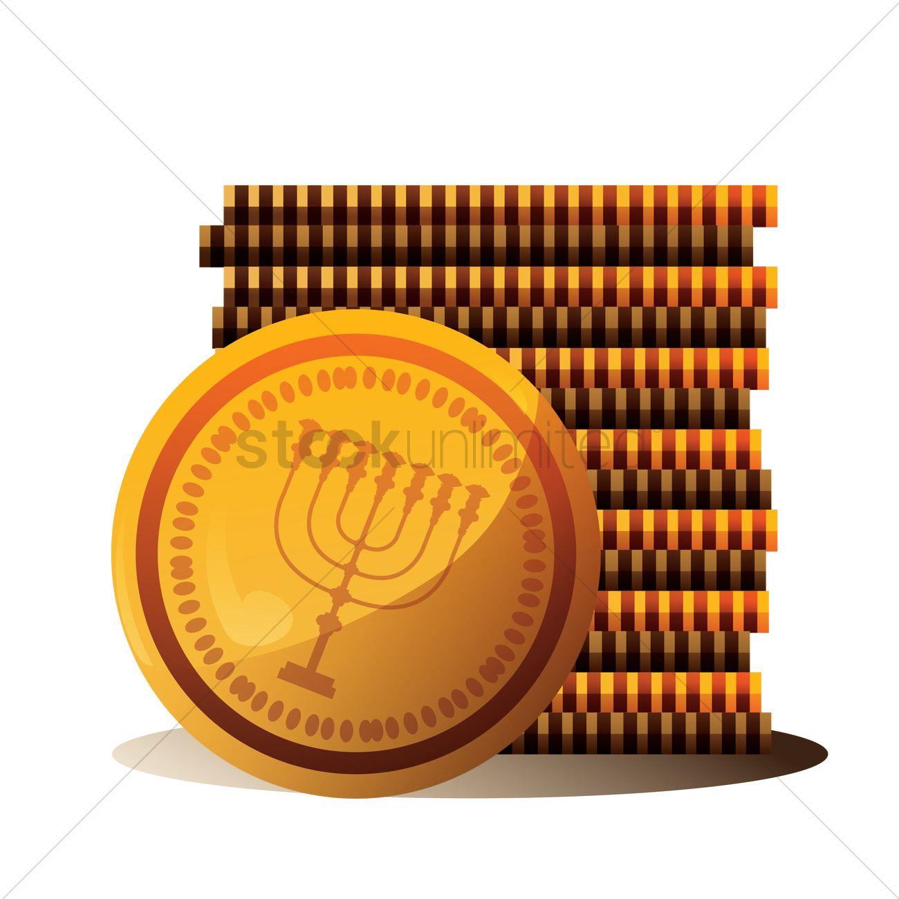 Hanukkah coins Vector Image.