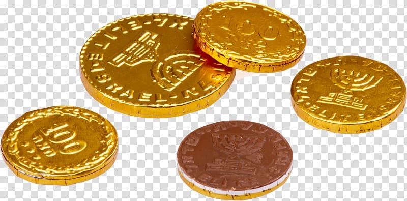 Hanukkah gelt Chocolate Kosher foods Jewish cuisine, Gold coins.