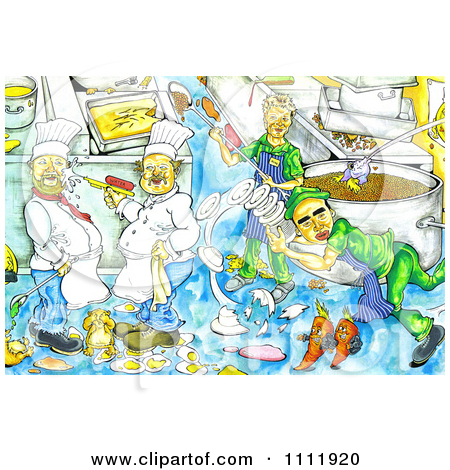 Clipart Chaotic Kitchen With Chefs Making Messes.