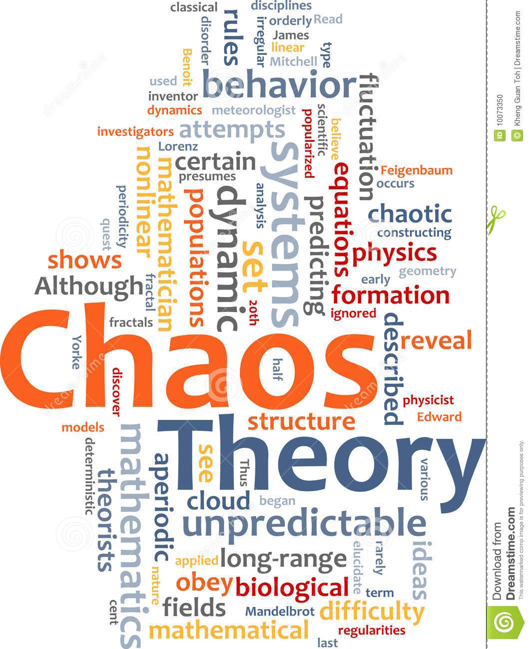 Chaos Theory Word Cloud Stock Photo.