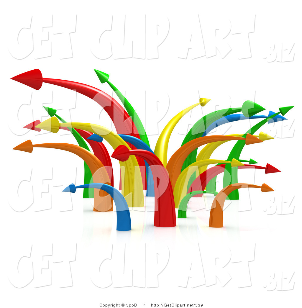3d Clip Art of a Chaotic Mess of Many Colorful Arrows Going in.