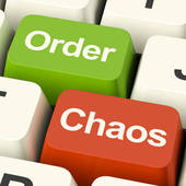 Clip Art of Mess Man Shows Chaos Disorder And Confusion k21601672.