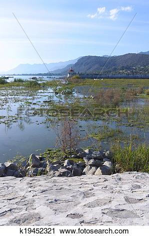 Stock Photography of Lake Chapala Boats Birds Pier and Mountains.