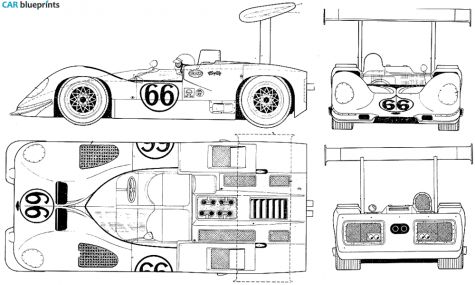 1967 Chaparral 2E Roadster blueprint.