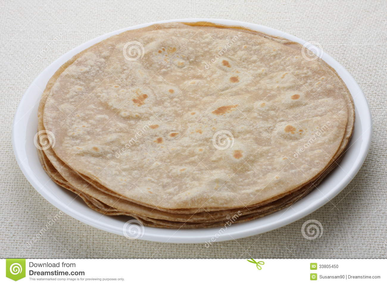Homemade Chapati (Indian Bread) Stock Photo.