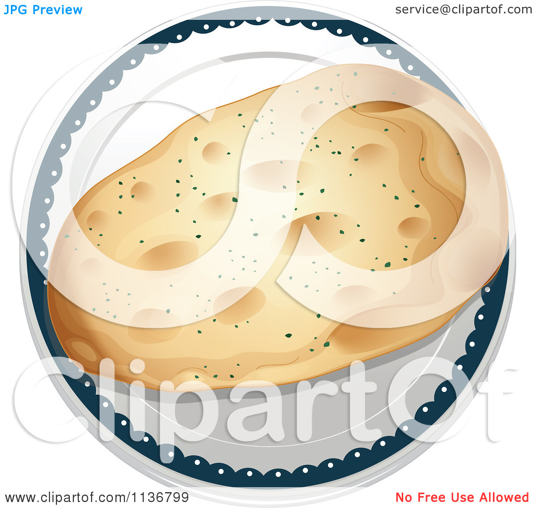 Clipart Of Indian Chapati Bread On A Plate.