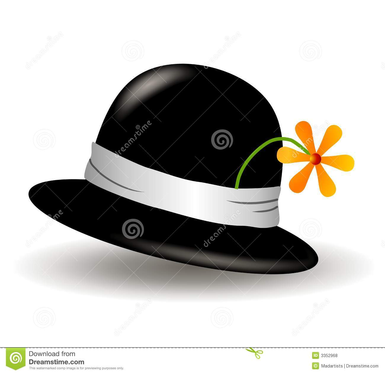 Black Hat With Flower Clip Art Royalty Free Stock Photos.