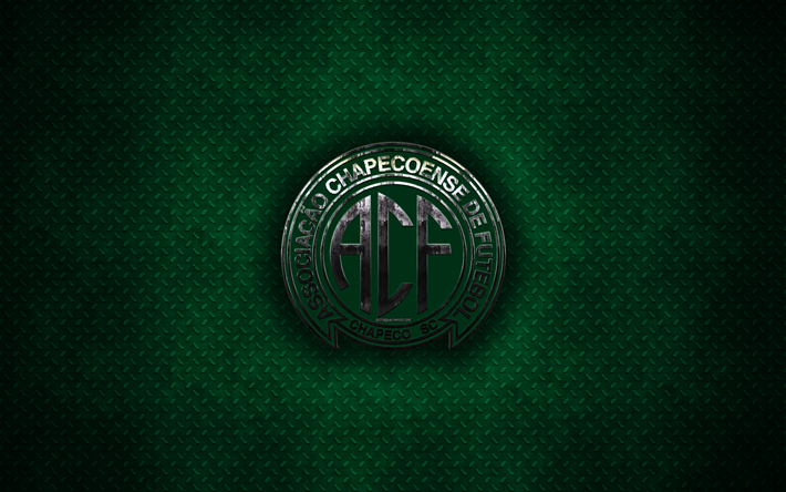 Download wallpapers Chapecoense SC, 4k, metal logo, creative art.