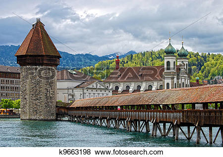 Pictures of Panoramic view of Chapel Bridge, famous covered wooden.