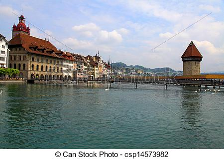 Pictures of Chapel Bridge and Waterfront of Reuss river, Lucerne.