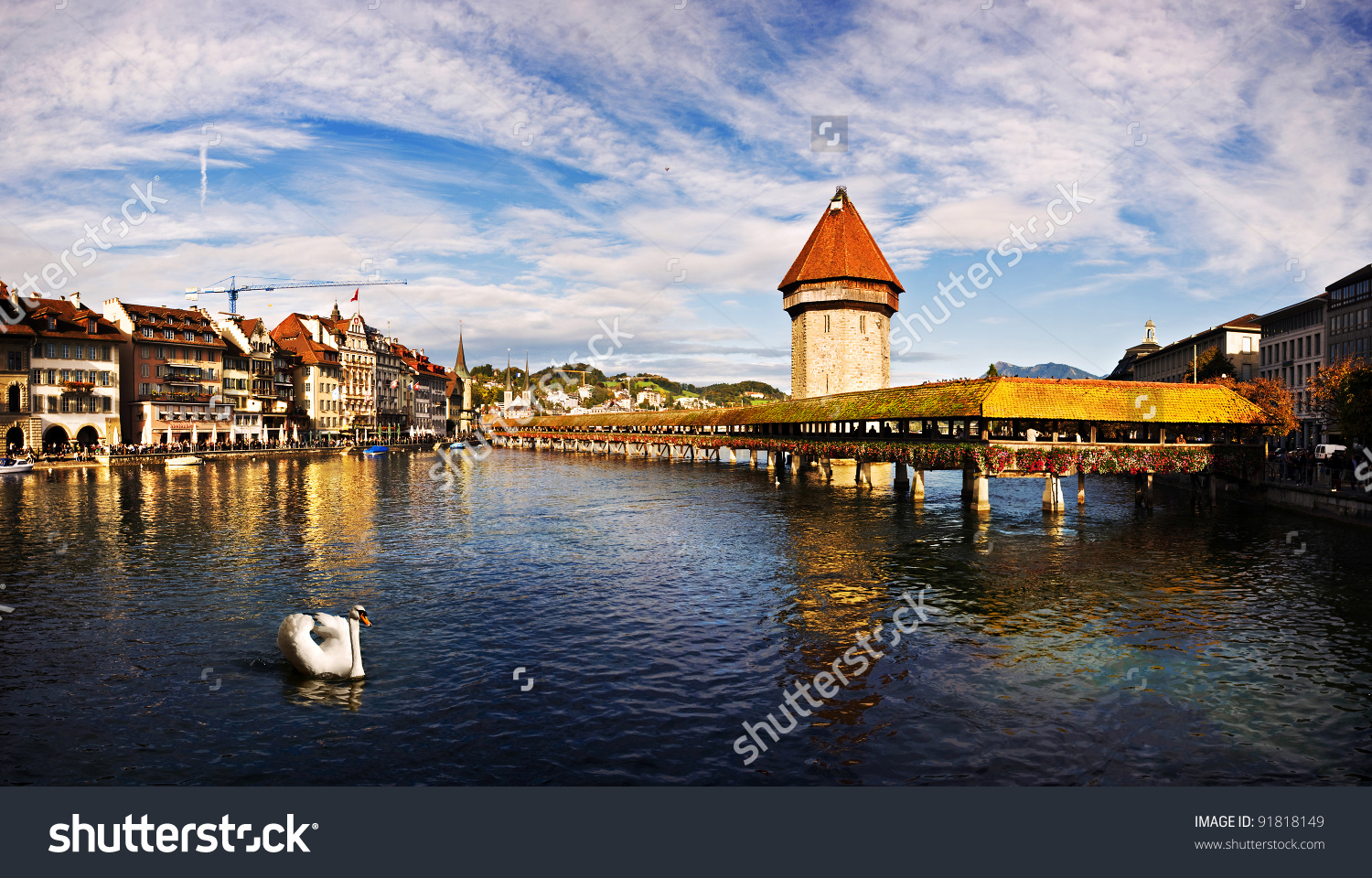 Panoramic View Of Chapel Bridge, Famous Covered Wooden Bridge, And.