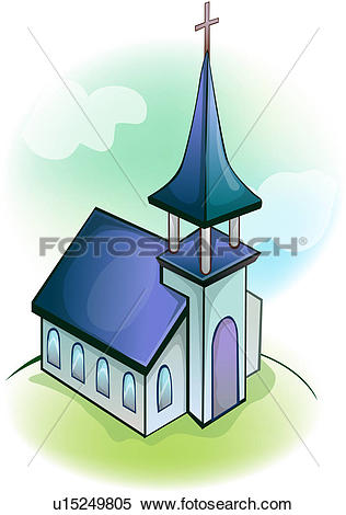 Clipart of hill, religion, architecture, christianity, church.
