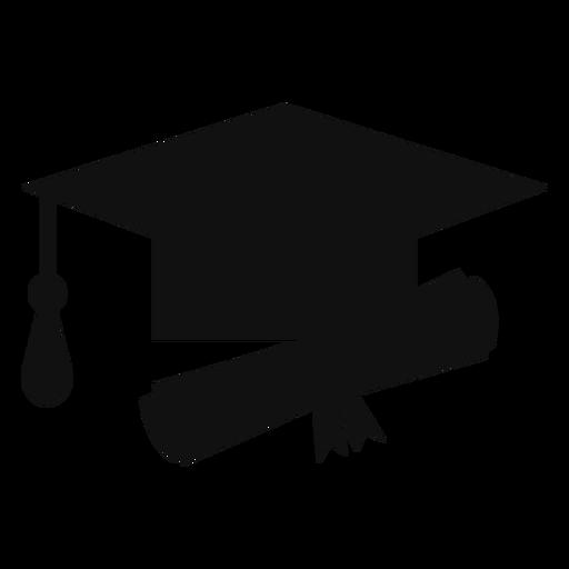 Silhueta de chapéu e diploma de formatura.