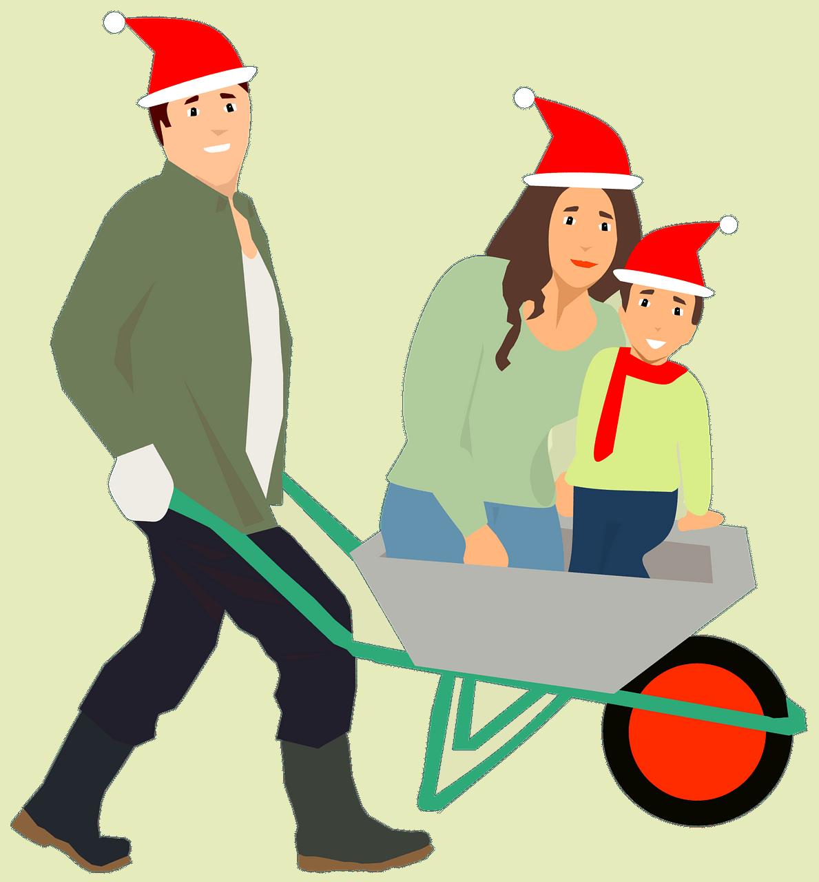 Família de chapéu de Papai Noel clipart. Download grátis.