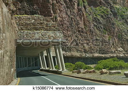 Stock Photo of Chapman's Peak Drive. Awesome road k15086774.