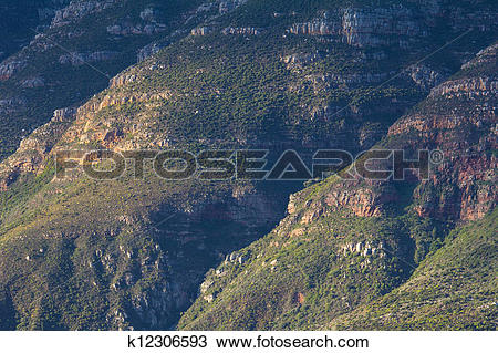 Stock Photo of Coastal mountais along Chapmans Peak Drive, Cape.