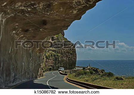 Stock Photo of Chapman's Peak Drive. Awesome road k15086782.