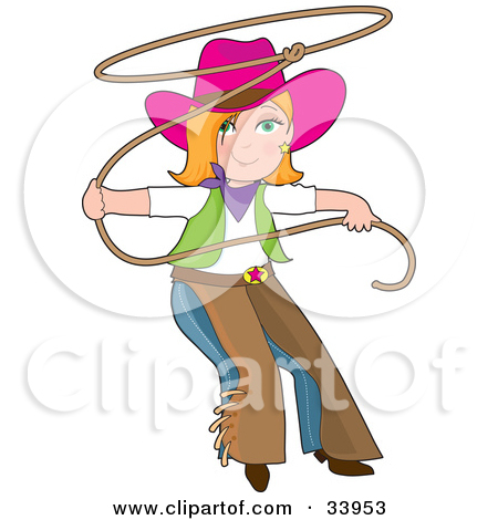 Clipart Illustration of a Teenage Cowgirl In Chaps And A Pink Hat.