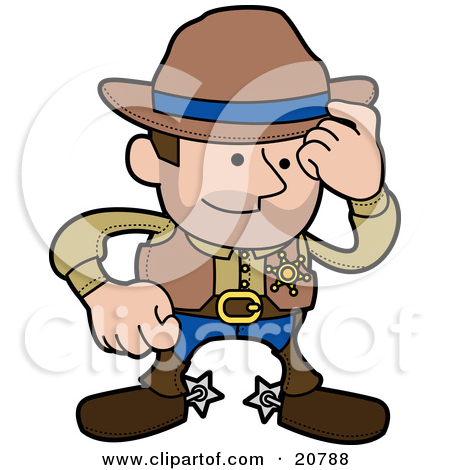 Clipart Illustration of a Western Cowboy Sheriff Man In Chaps And.