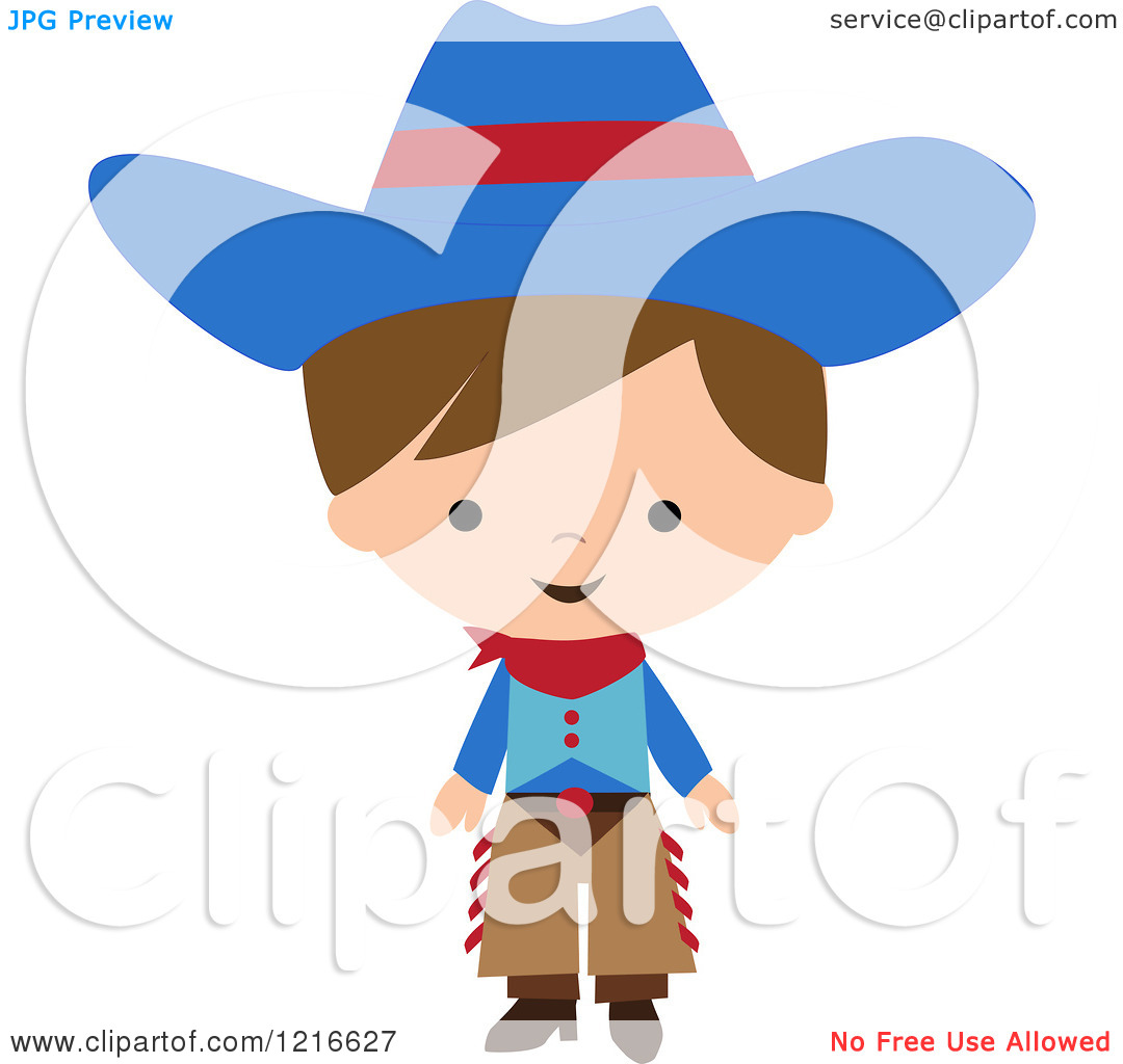 Clipart of a Happy Little Cowboy in a Blue Hat and Chaps.