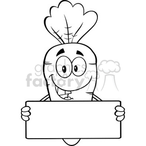 Royalty Free RF Clipart Illustration Black And White Funny Carrot Cartoon  Character Holding A Banner clipart. Royalty.