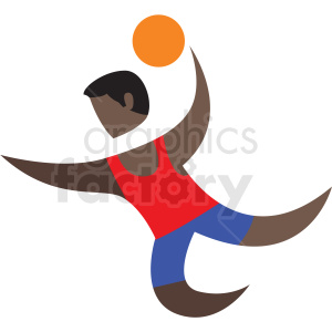 African American basketball dunk sport character icon clipart. Royalty.