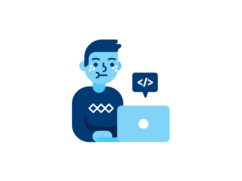 Programmer icon character by Manu on Dribbble.