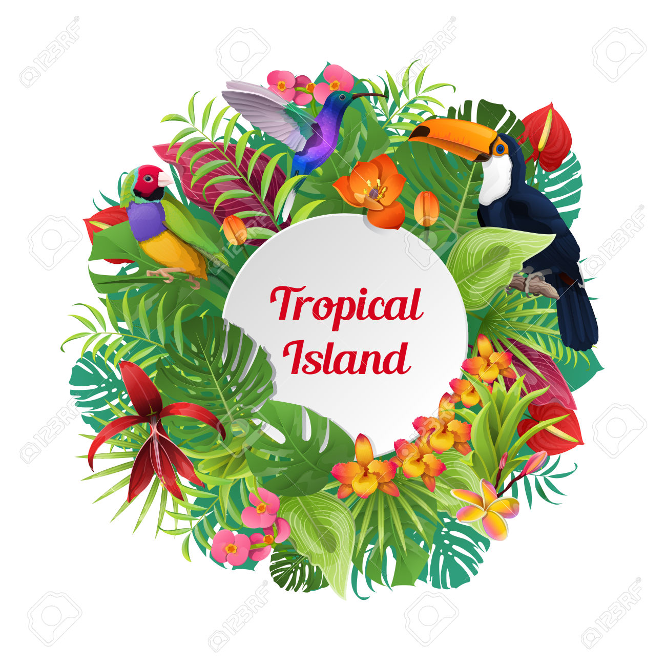 Tropical Island Word On Round Birds, Plants And Flowers Background.