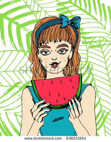 Woman Eating Watermelon Stock Vectors, Images & Vector Art.