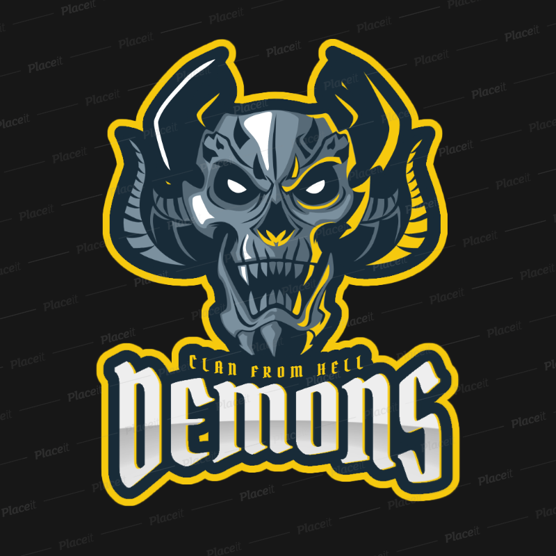 Gaming Logo Template with a Demonic Character Graphic 1750u 2361.
