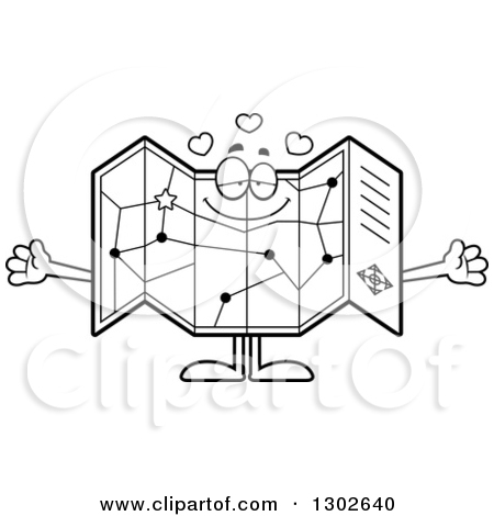 Lineart Clipart of a Cartoon Black and White Loving Road Map Atlas.