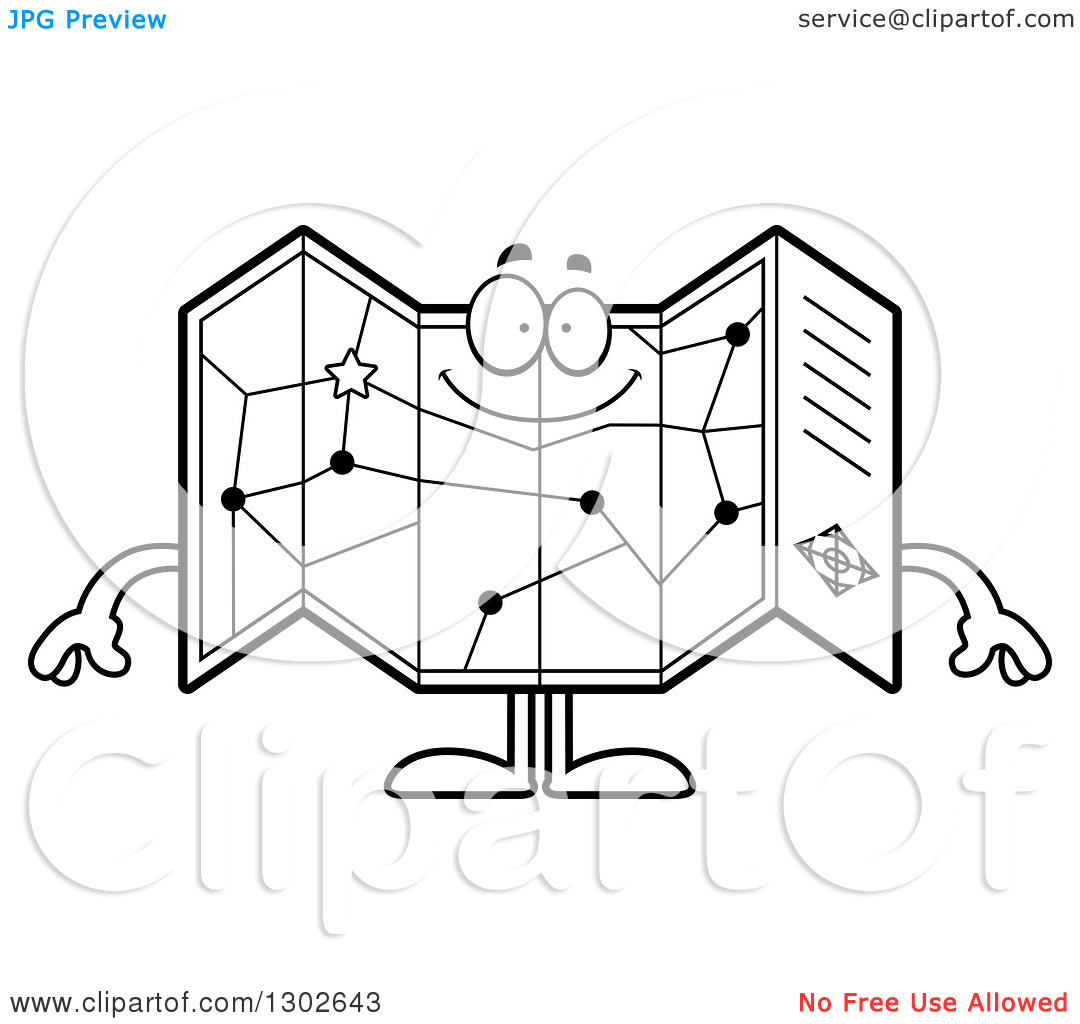 Lineart Clipart of a Cartoon Black and White Happy Road Map Atlas.
