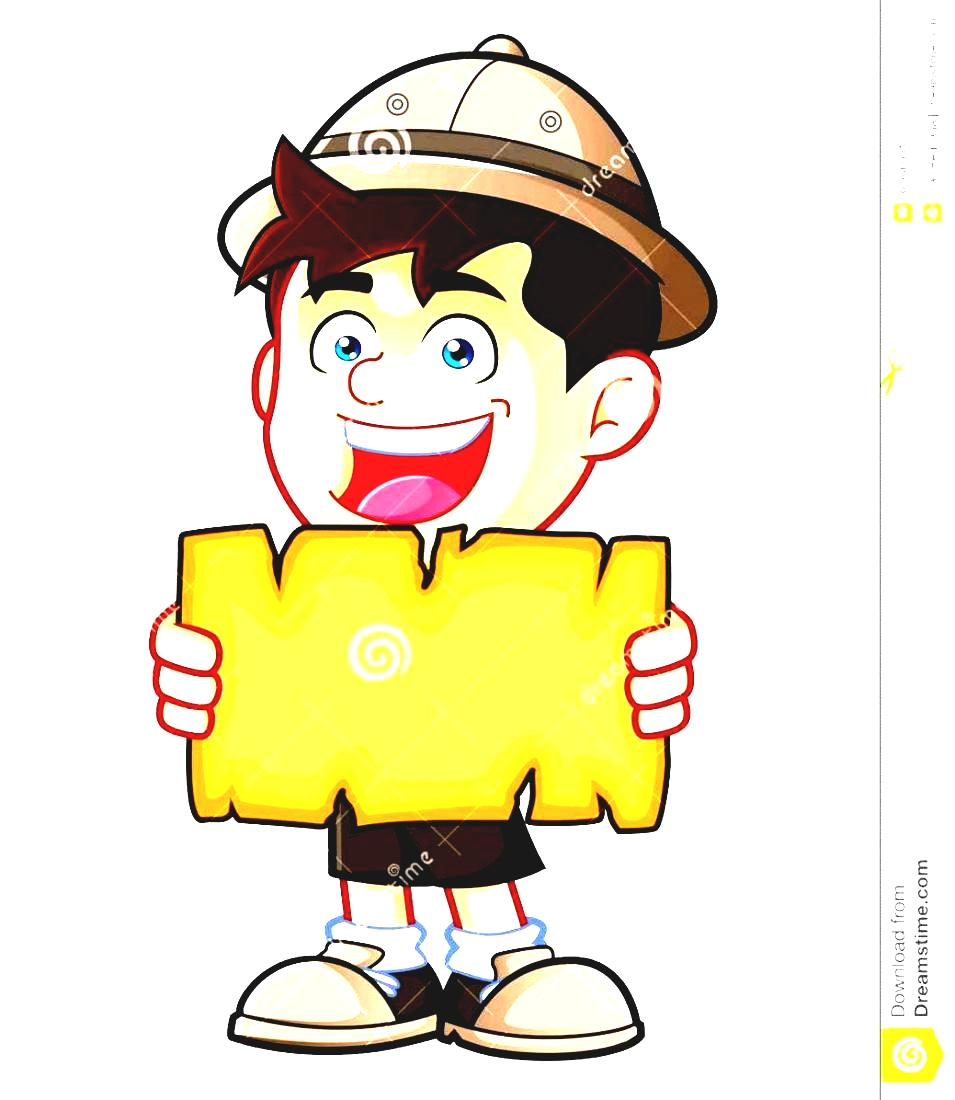Scout Vector Holding Boy Blank Clipart Cartoon Character Map Or.