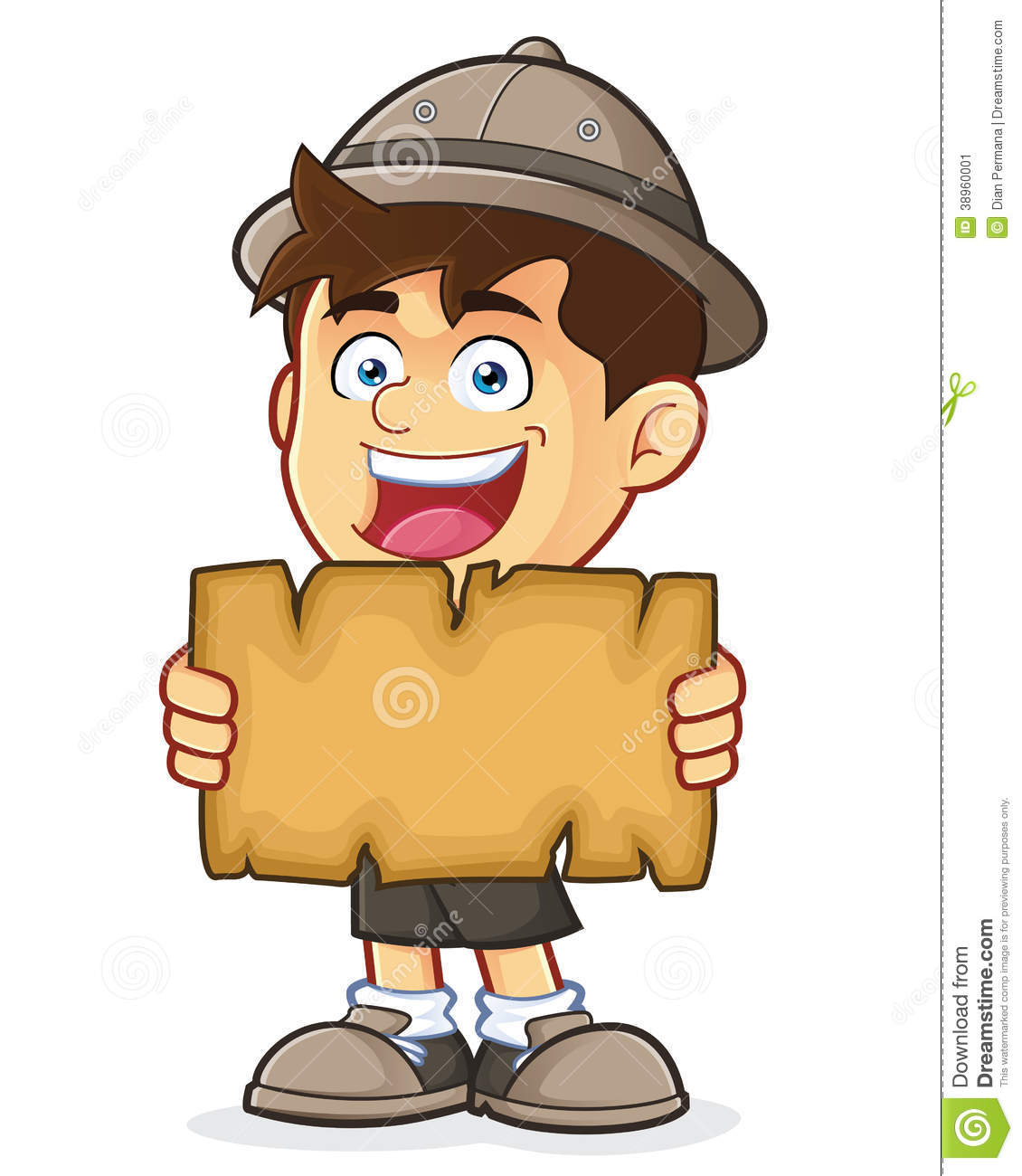 Adventure Clipart Boy Scout Or Explorer Holding A Blank Map Stock.