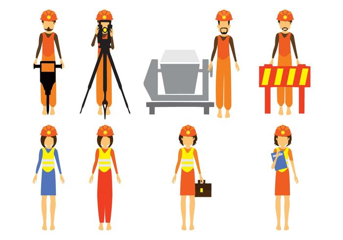Free Construction and Civil Engineering Character Vector.