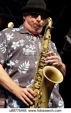 Stock Image of music man male sax player musician charango del.