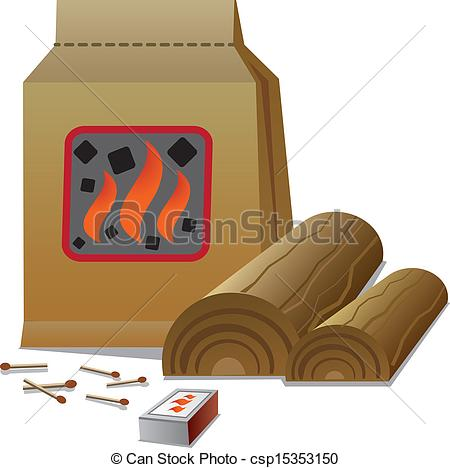 Clipart Vector of firewood and charcoal csp15353150.