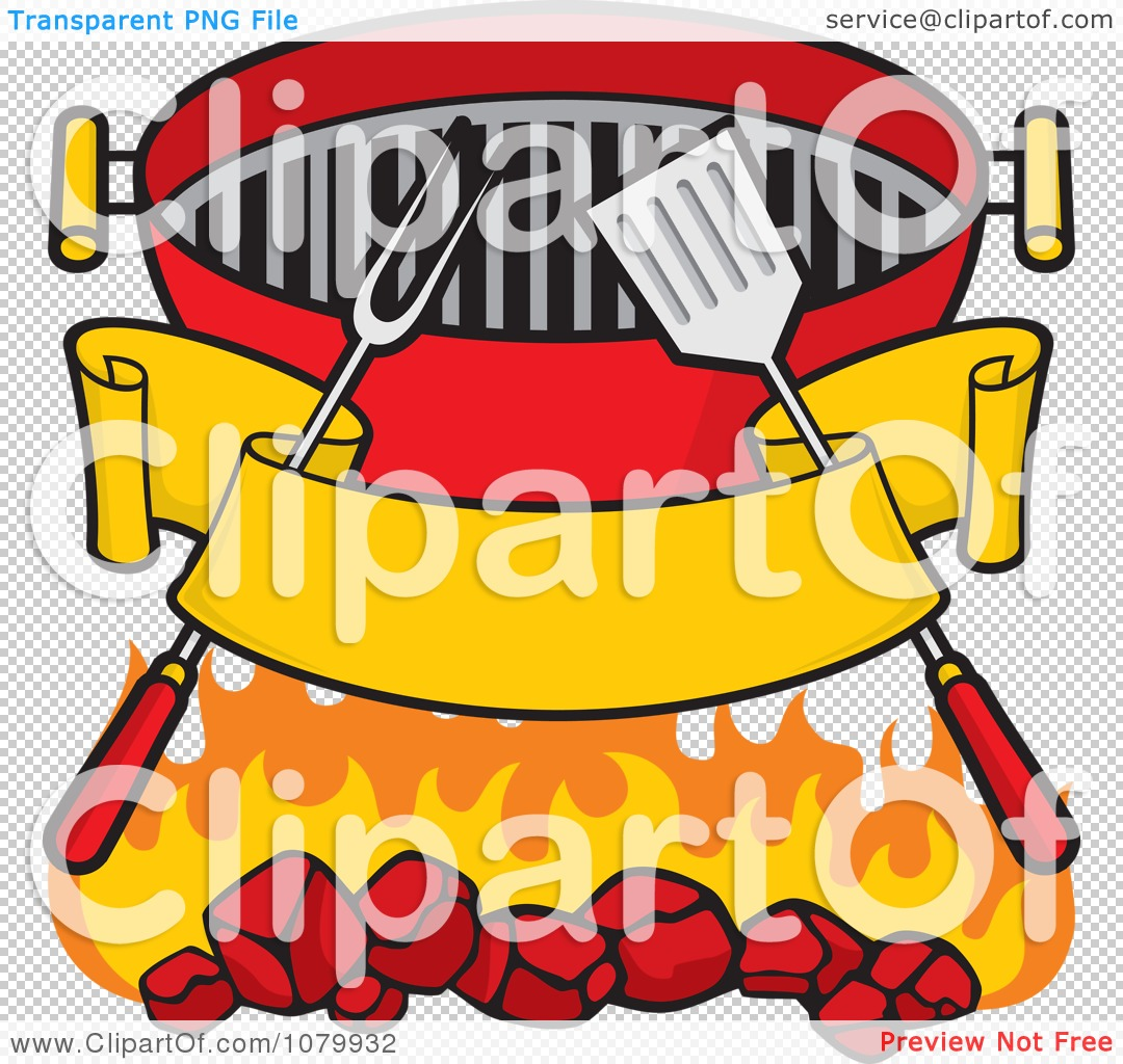Clipart Blank Banner Charcoal Grill Utensils And Flames.