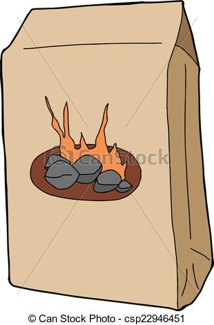 Clipart Vector of Isolated Charcoal Bag.