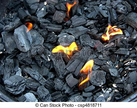 Clipart of glowing charcoal for bbq csp4818711.