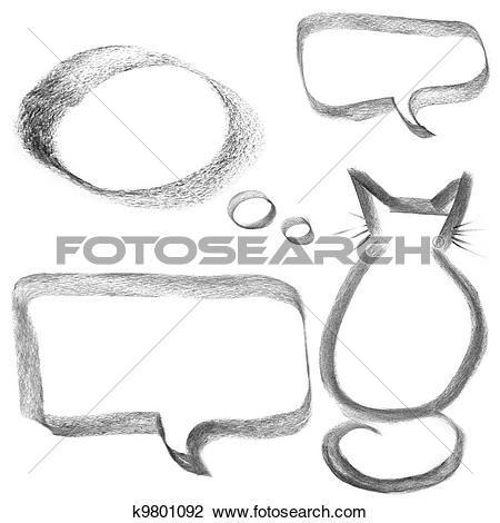 Clip Art of charcoal drawing of cat outline and bubble k9801092.