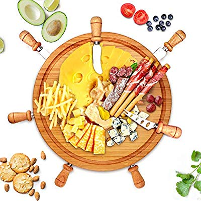 Round Bamboo Cheese Board Set, Cheese Tray, Charcuterie Board and Serving  Meat Platter with 7 Stainless Steel Cheese Knives, Ideal for Wedding Gifts.