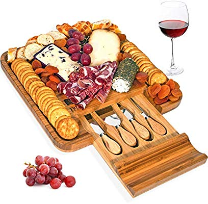 Bamboo Cheese Board and Knife Set, Wood Charcuterie Platter.