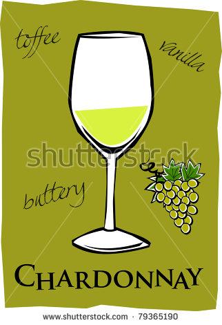 Retro Glass Of Chardonnay Wine Vector Illustration.
