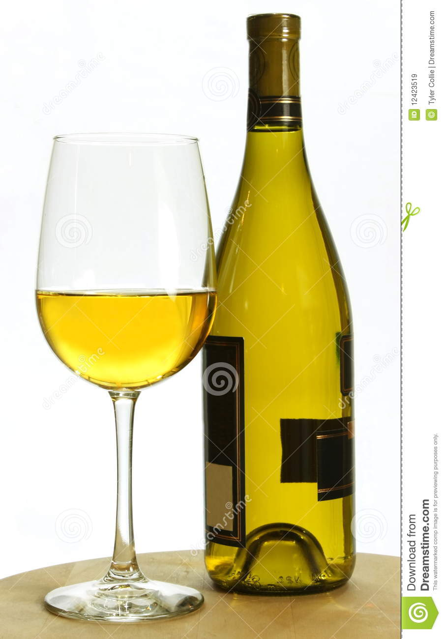 White Chardonnay Wine Bottle And Glass Royalty Free Stock Images.