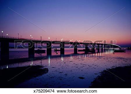 Stock Photo of Oleron bridge at sunset, Ile de Re, Charente.