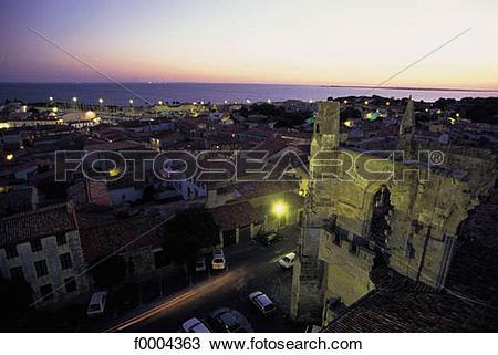 Stock Photo of town, city, general view, lighting, light, night.
