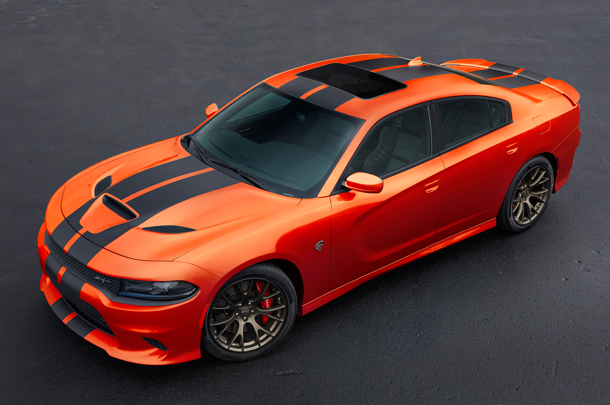 2016 Dodge Challenger, Charger SRT and Hellcat Go Mango with New.