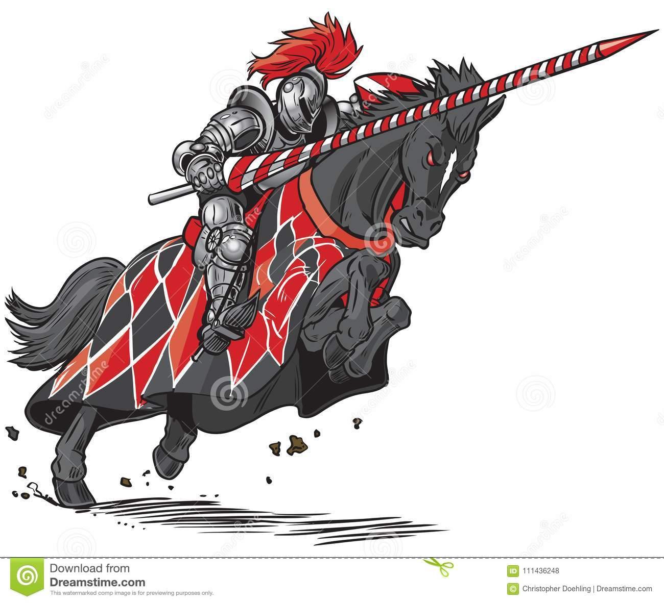Knight On Horse Jousting Vector Cartoon Stock Vector.